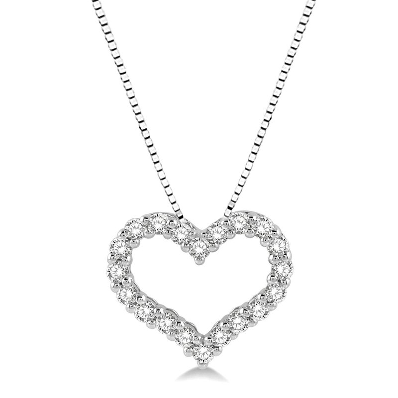 1/2ct tw Diamond Heart Necklace in 14K White Gold