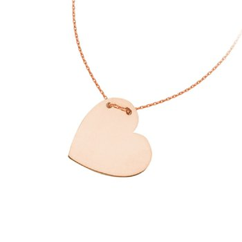 Engravable Heart Necklace in 14K Rose Gold