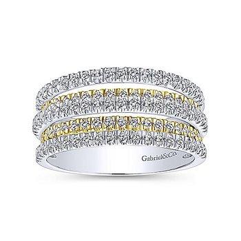 9/10ct tw Diamond Fashion Ring in 14K White & Yellow Gold