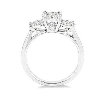 1ct tw Diamond Thousand Points of Light Engagement Ring in 14K White Gold