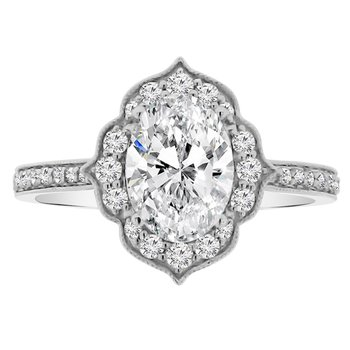 1/3ct tw Diamond Halo Engagement Ring Setting in 18K White Gold