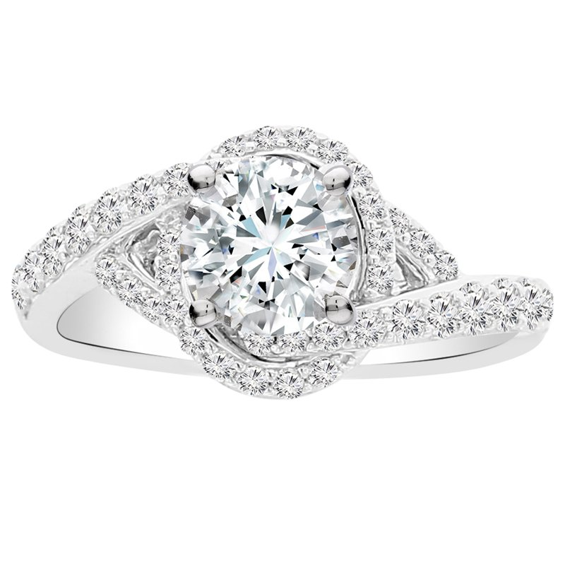 5/8ct tw Diamond Halo Engagement Ring Setting in 14K White Gold