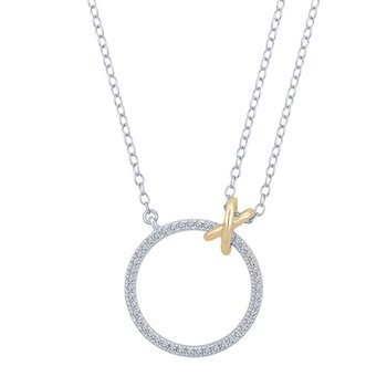 1/5ct tw Diamond Circle Necklace in Sterling Silver & 10K Yellow Gold