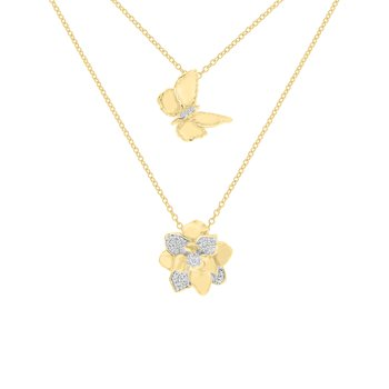 1/8ct tw Diamond Garden District Collection Butterfly & Magnolia Layered Necklace in 10K Yellow Gold