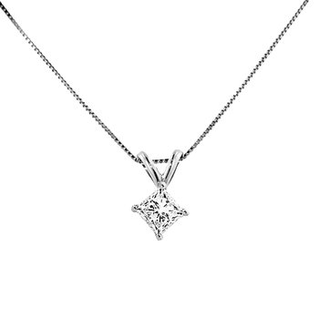 3/8ct tw Diamond Solitaire Necklace in 14K White Gold