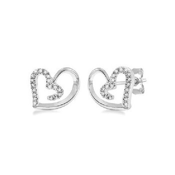 1/10ct tw Diamond Heart Fashion Earrings in Sterling Silver