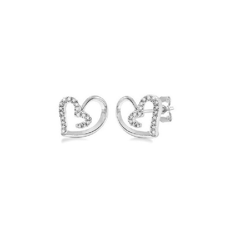 1/10ct tw Diamond Heart Fashion Earrings in Sterling Silver