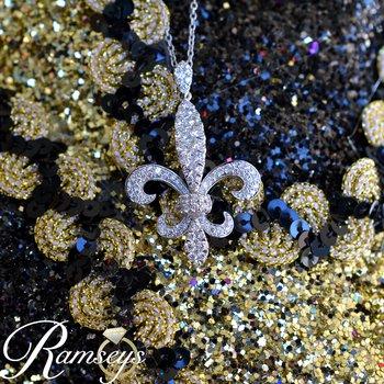 1 3/4ct tw Diamond Fleur De Lis Necklace in 14K White Gold