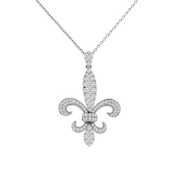 1 3/4ct tw Diamond Fleur De Lis Necklace in 14K White Gold