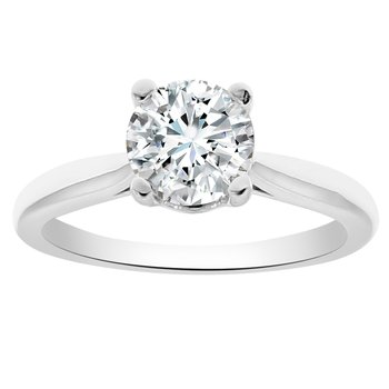 Solitaire Engagement Ring Setting in 14K White Gold