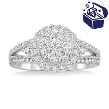 Treasure Hunt Value 1ct tw Diamond Thousand Points of Light Engagement Ring in 14K White Gold