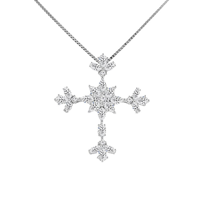1 1/2ct tw Diamond Cross Necklace in 14K White Gold