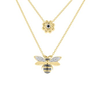 .04ct tw Diamond Garden District Collection Bee & Flower Layered Necklace in 10K Yellow Gold with Black & White Rhodium Plating