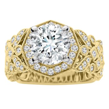 3/4cttw Diamond Halo Engagement Ring Setting in 14K White & Yellow Gold