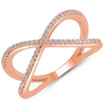 1/8ct tw Diamond X Fashion Ring in 10K Rose Gold