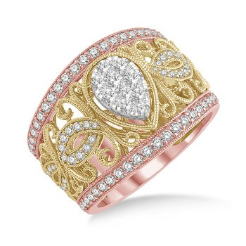 1ct tw Diamond Thousand Points of Light Fashion Ring in 18K White, Yellow, & Rose Gold