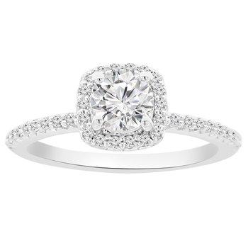 7/8ct tw NewBorn Lab Created Diamond Halo Engagement Ring in 14K White Gold