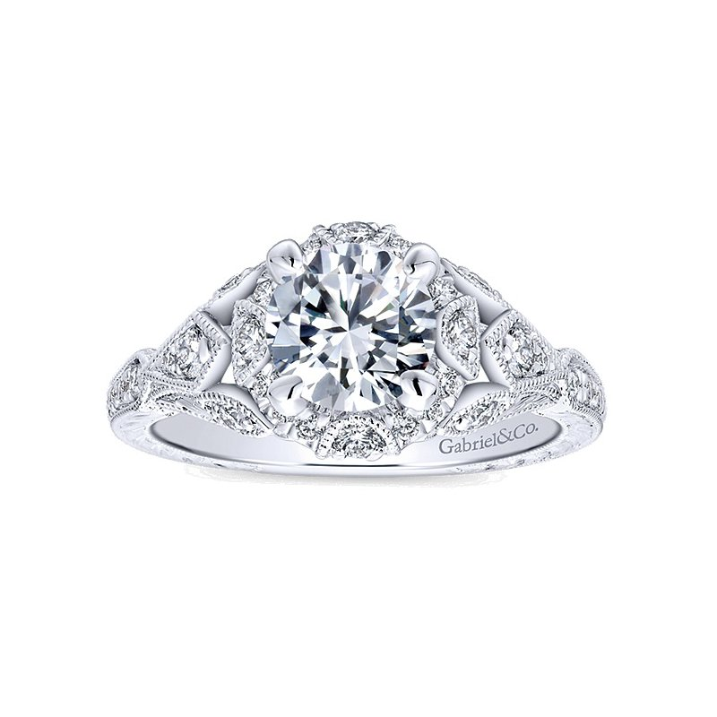 1 3/8ct tw Diamond Halo Engagement Ring in 14K White Gold