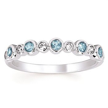 1/10ct tw Diamond & Blue Topaz December Birthstone Ring in 14K White Gold