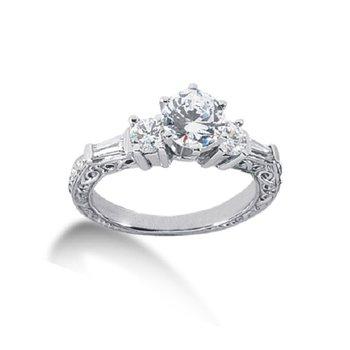 1 5/8ct tw Diamond Three Stone Engagement Ring in 14K White Gold