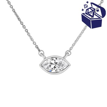 Treasure Hunt Value 1/2ct tw Diamond East-West Solitaire Necklace in 14K White Gold