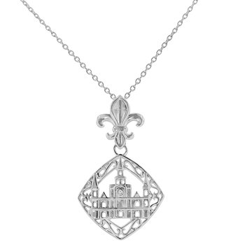 .01ct tw Diamond Nola Collection Cathedral & Fleur De Lis Necklace in Sterling Silver