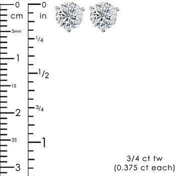 3/4ct tw Diamond Solitaire Stud Earrings in 14K White Gold