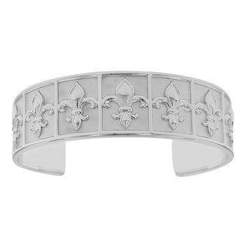 7 Inch Nola Collection Fleur De Lis Cuff Bracelet in Sterling Silver