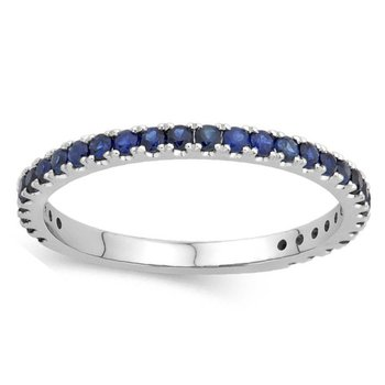 1/2ct tw Blue Sapphire Stackable Ring in 14K White Gold