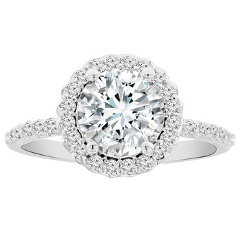 3/8ct tw NewBorn Lab Created Diamond Halo Engagement Ring Setting in 14K White Gold