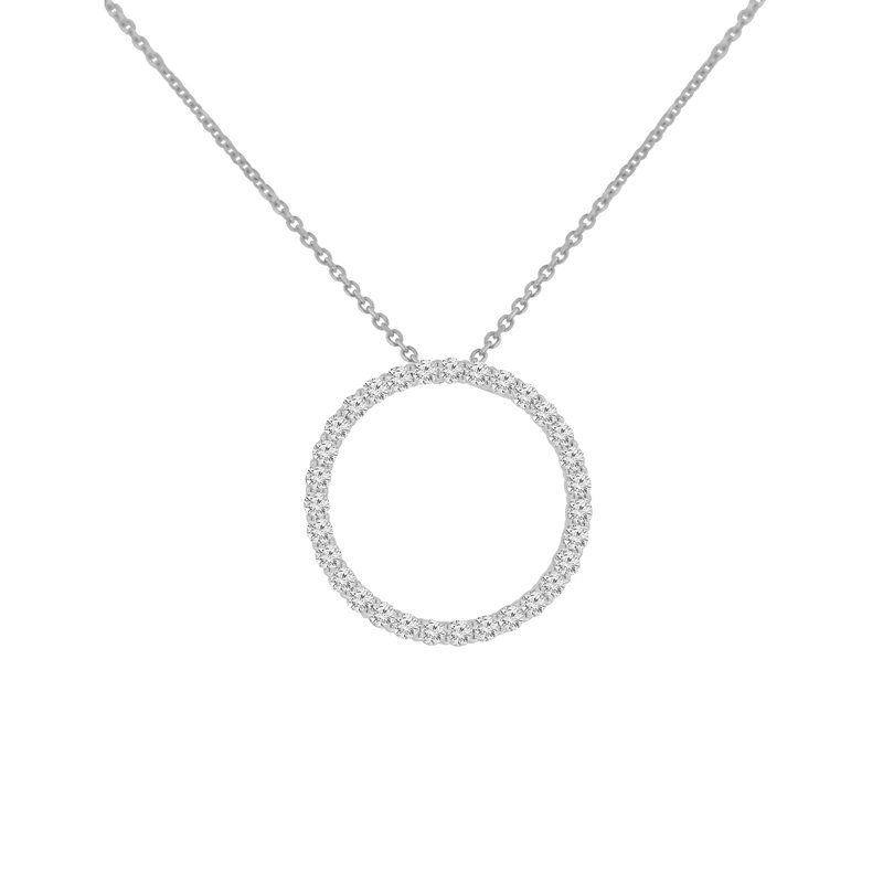 5/8ct tw NewBorn Lab Created Diamond Circle Necklace in Sterling Silver