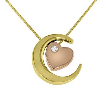 .03ct tw Diamond Moon & Back Necklace in 10K Yellow & Rose Gold