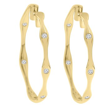 3/8ct tw Diamond Hoop Earrings in 14K  Yellow Gold