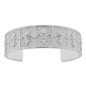 8 Inch Nola Collection Fleur De Lis Cuff Bracelet in Sterling Silver