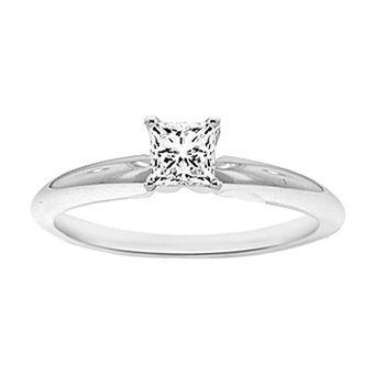 3/8ct Diamond Solitaire Engagement Ring in 14K White Gold