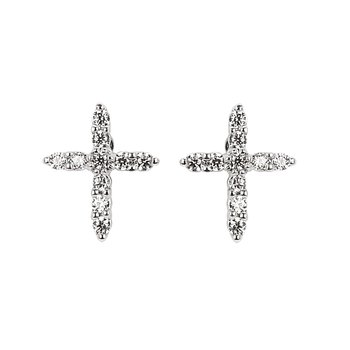1/8ct tw Diamond Cross Stud Earrings in 14K White Gold