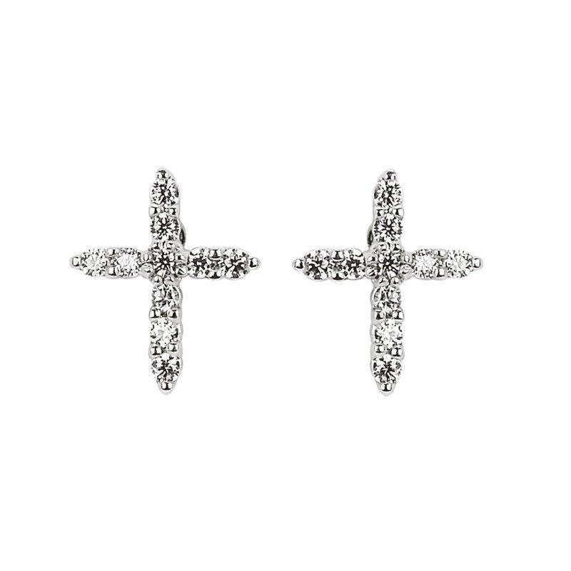1/8ct tw Diamond Cross Stud Earrings in 14K White Gold