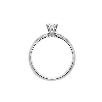 1/3ct Princess Cut Diamond Solitaire Engagement Ring in 14K White Gold