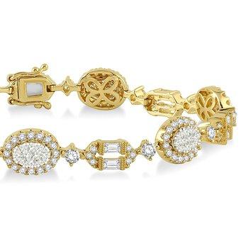 3 3/4ct tw Diamond Thousand Points of Light Fashion Bracelet in 18K White & Yellow Gold