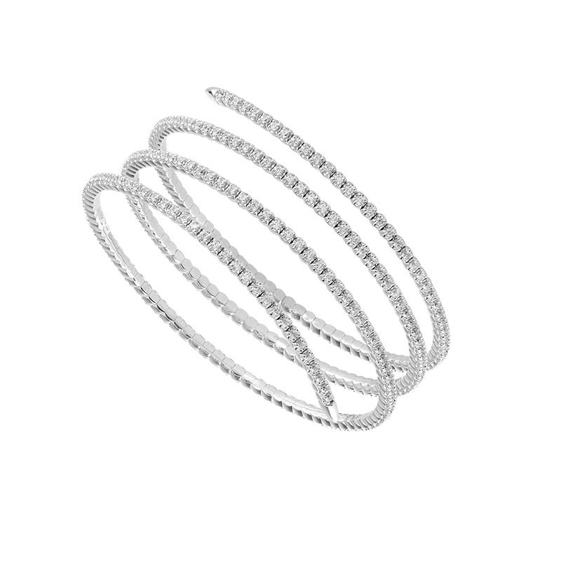 3 1/2ct tw Diamond Bangle Bracelet in 14K White Gold