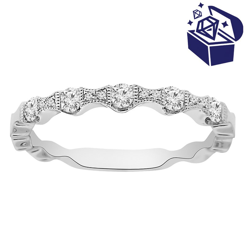 Treasure Hunt Value 1/4ct tw Diamond Stackable Ring in 14K White Gold