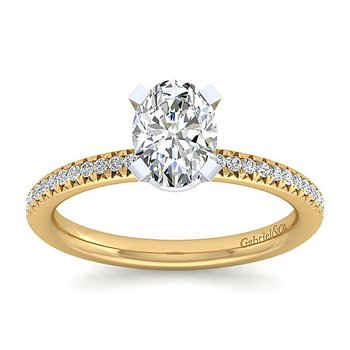 1 1/2ct tw NewBorn Lab Created Diamond Engagement Ring in 14K White & Yellow Gold
