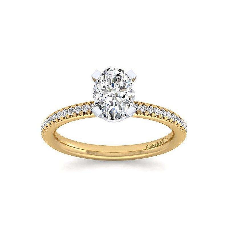 1 1/2ct tw NewBorn Lab Created Diamond Engagement Ring in 14K White & Yellow Gold