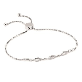 1/8ct tw Diamond Bolo Necklace in Sterling Silver