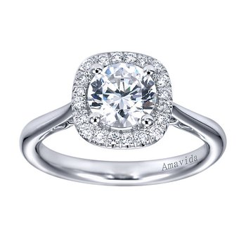 1 1/8ct tw Diamond Halo Engagement Ring in 18K White Gold