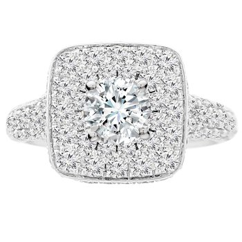 2 1/4ct tw Diamond Halo Engagement Ring Setting in 14K White Gold