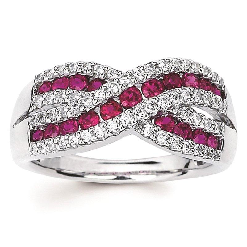 1 1/4ct tw Diamond & Ruby Fashion Ring in 14K White Gold