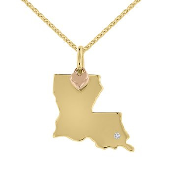 .01ct tw Diamond Louisiana State of Mind Necklace in 10K Rose & Yellow Gold