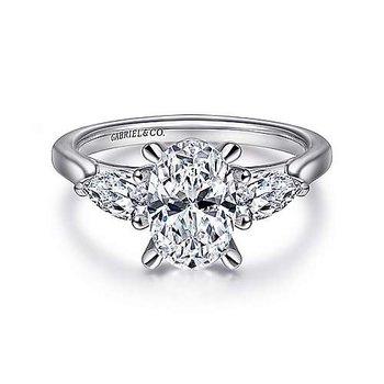 3/8ct tw Diamond Engagement Ring Setting in 14K White Gold