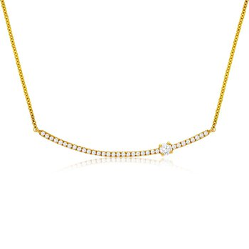 1/4ct tw Diamond Br Necklace in 14K Yellow Gold